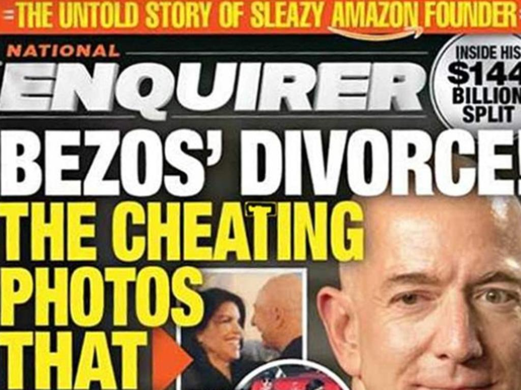 """The National Enquirer's cover story on Jeff Bezos and all communications with him were said to be 'in good faith"""" according to the magazine's parent company. Picture: Supplied"""