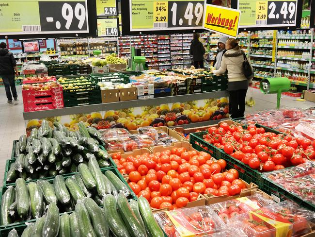 Inside one of Germany's massive Kaufland stores.