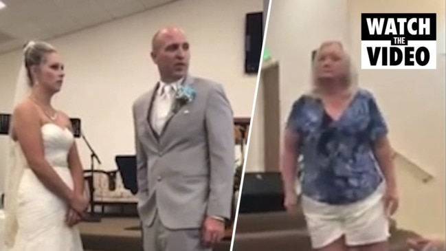 Outragious moment groom's angry mum interrupts vows as bride mentions his 'flaws'