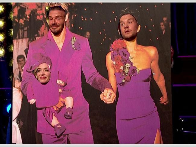 Corden, Blunt and Beckham re-create their hilarious wedding photo.