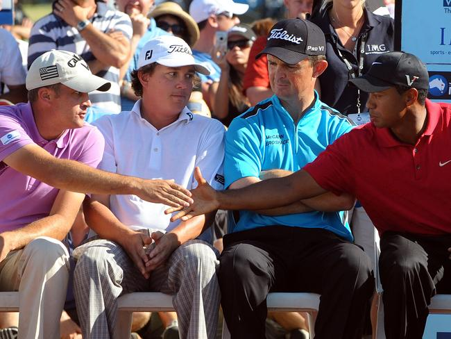 If only we knew what was going through Jason Dufner's (second from left) mind right there.