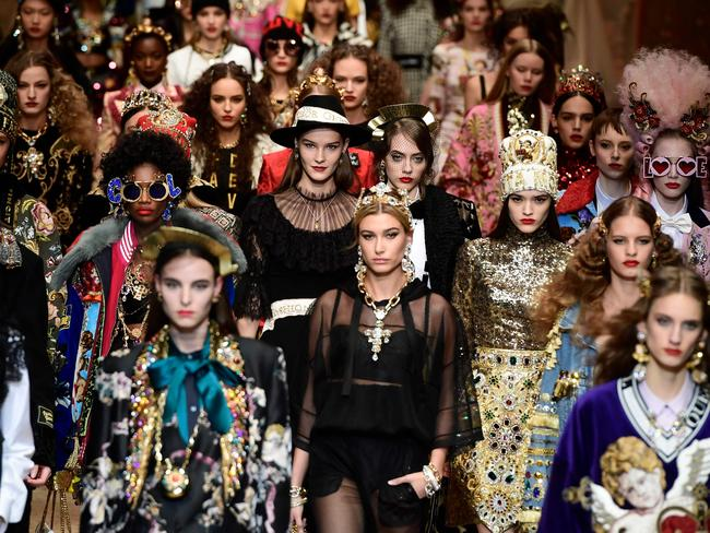 Models turned up ... eventually. Picture: AFP