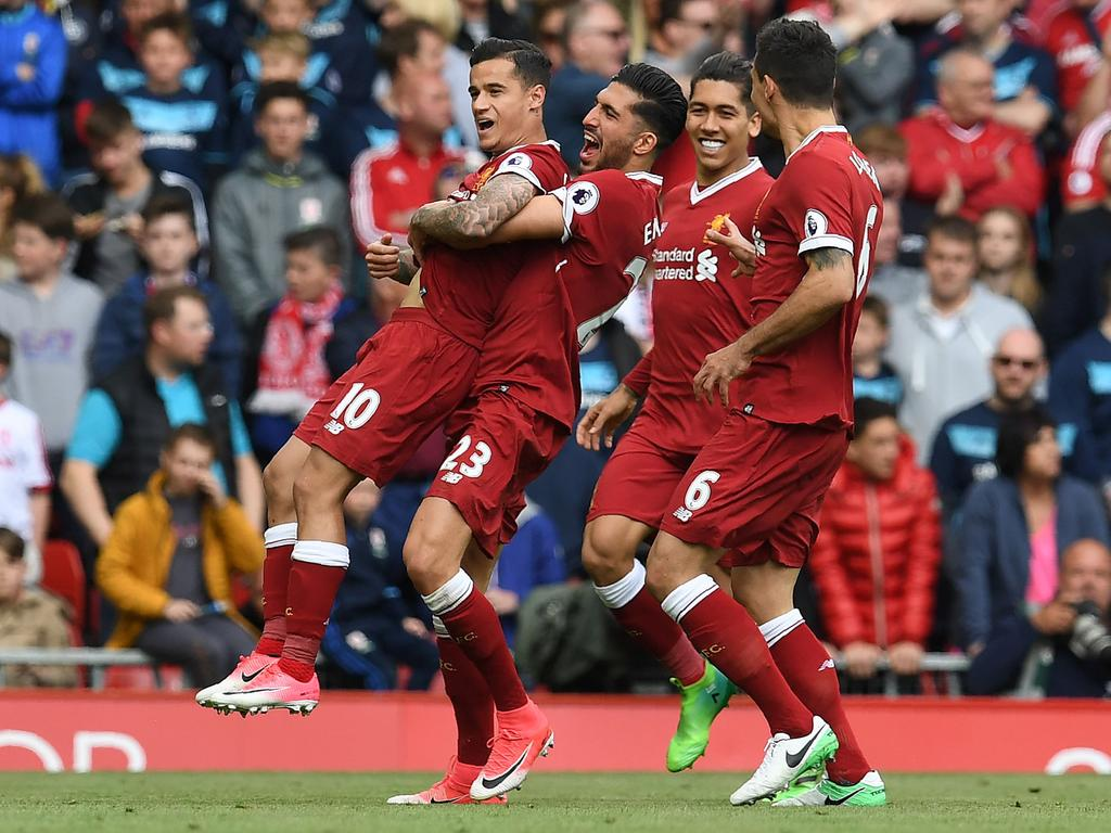 Philippe Coutinho celebrates scoring his team's second goal against Middlesbrough at Anfield in 2017 Picture: Paul Ellis/AFP