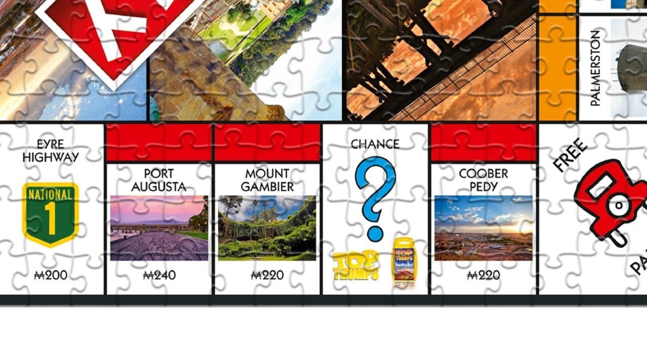 Mount Gambier has replaced Fleet Street in a new version of a classic board game, Australian Community Relief Monopoly, which also comes as a jigsaw puzzle. Picture: Monopoly