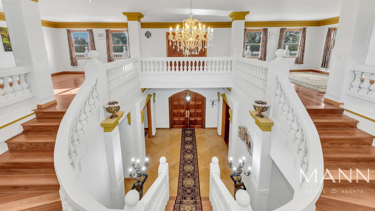 The impressive double staircase.