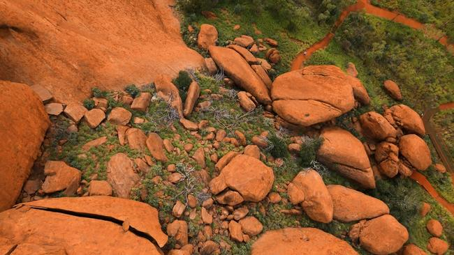 Boulders can be seen on the 600 million-year-old rock. Picture: Voyages indigenous Tourism Australia