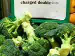 Supplied  Broccoli warning at green grocer in Ashfield, Sydney picture:  Benedict Brook