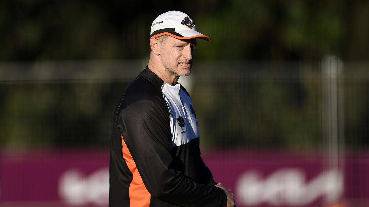 BRISBANE, AUSTRALIA - JULY 21: Wests Tigers coach Michael Maguire looks on during a Wests Tigers NRL training session at Gilbert Park on July 21, 2021 in Brisbane, Australia. (Photo by Albert Perez/Getty Images)