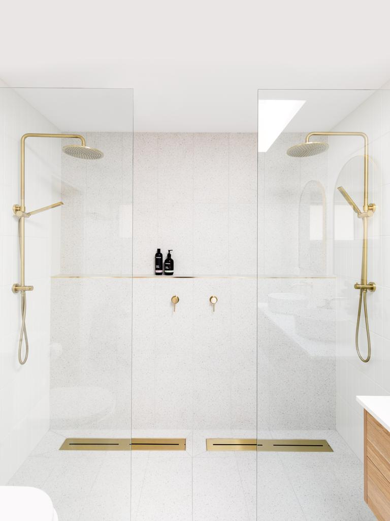The finished ensuite also featured a stunning statement twin shower. Picture: Supplied / ABI Interiors.