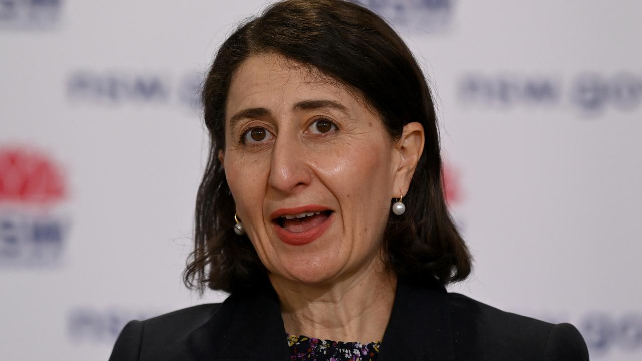 NSW Premier Gladys Berejiklian speaks to the media during a Covid-19 press conference. Picture: Bianca De Marchi – Pool/Getty Images