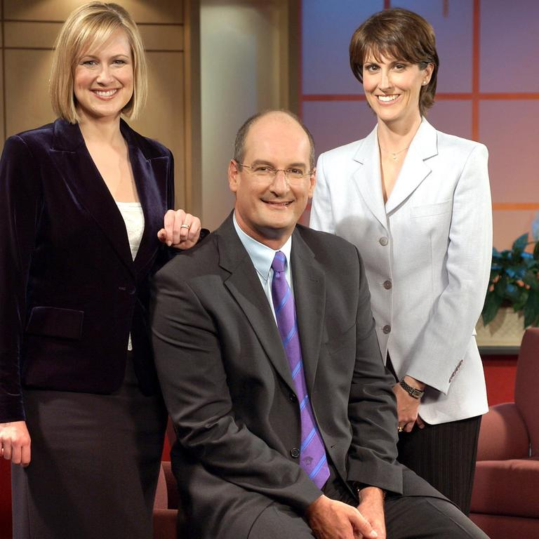 Nat joined Sunrise in 2003 – here she is that year with David Koch and then-co-host Mel Doyle.