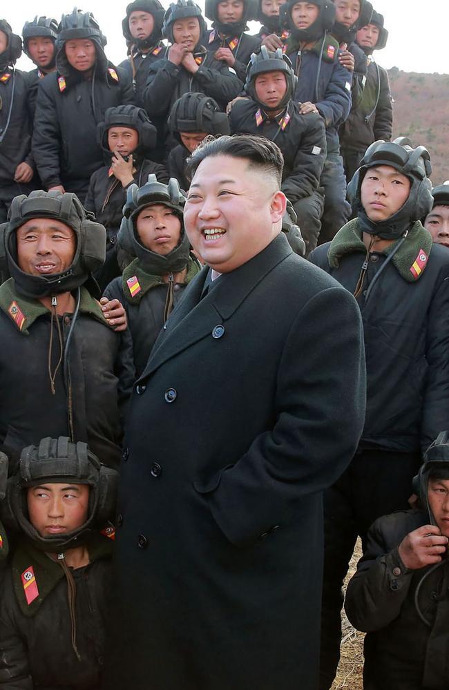 North Korean leader Kim Jong-un inspecting the Korean People's Army Tank Crews. Picture: AFP