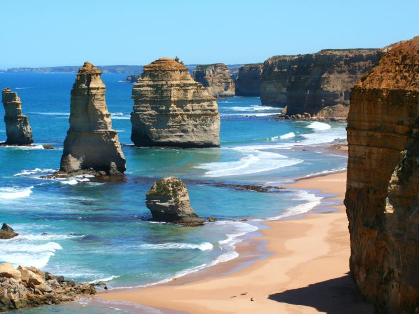 12 Apostles, Great Ocean Road, Victoria, Australia, on a bright sunny day. Twelve Apostles.