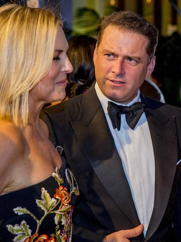 Today Show hosts Georgie Gardner and Karl Stefanovic chatting to journalists on the red carpet. Picture: Jerad Williams