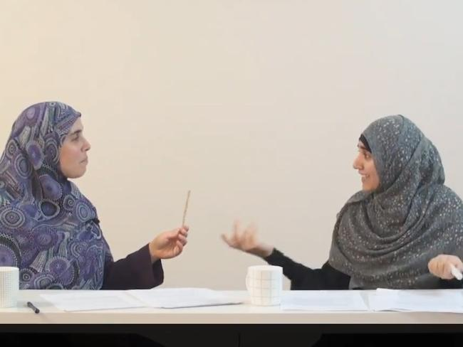 Reem Allouche (left) and Atika Latifi discuss how a man should 'discipline' his wife in the controversial video.