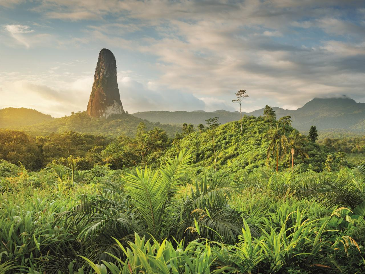 The 668m-high Pico Cao Grande rock tower on Sao Tome Island. Picture: Justin Foulkes / Lonely Planet