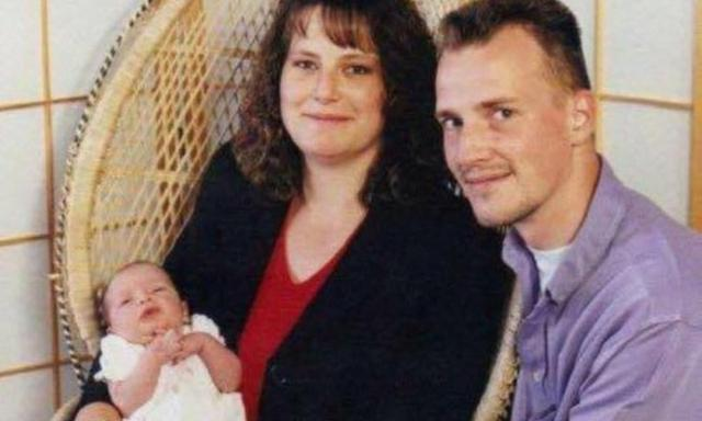 Clare with her newborn daughter Chloe, and husband Matthew, 18 years ago (Collect/PA Real Life)