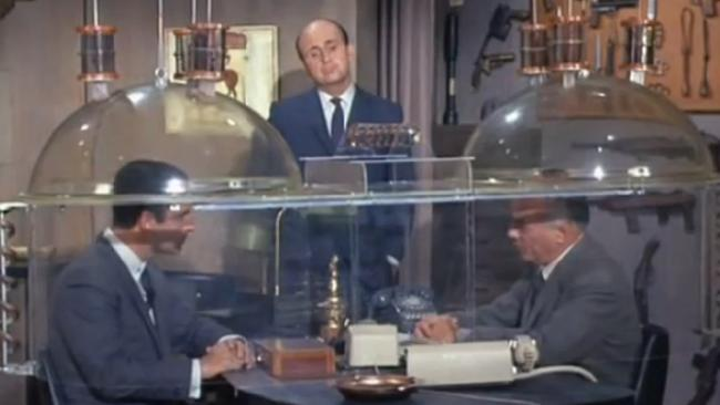 """The """"Cone of Silence"""" from the 1960s spy spoof television series <i>Get Smart</i>."""