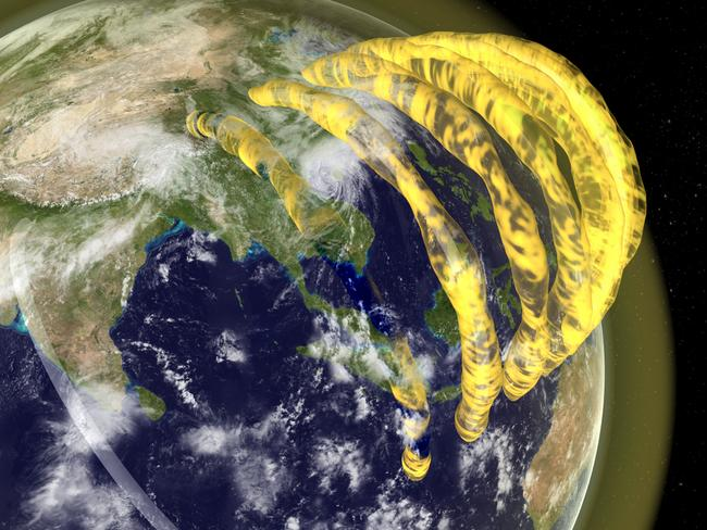 An artist's impression of tubular plasma structures in the Earth's magnetosphere.