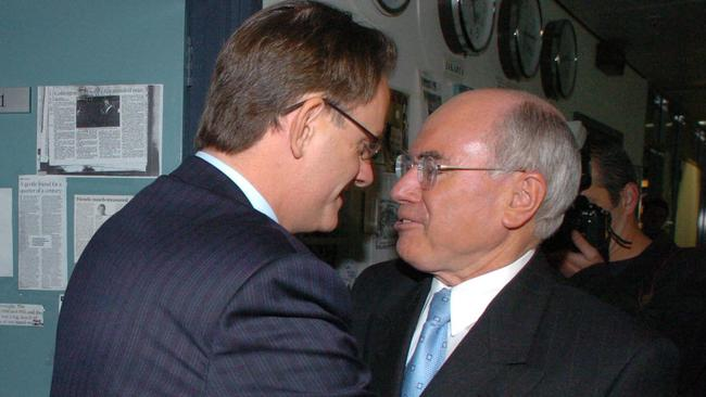 """""""It didn't work"""" ... John Howard has spoken about THAT handshake, saying Mark Latham's attempt to dominate him failed. Picture: John Feder"""