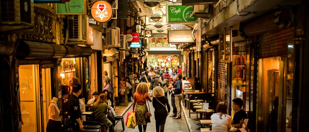 People are walking and dining at Centre Place laneway in the city centre of Melbourne, Victoria, Australia. Picture: istock