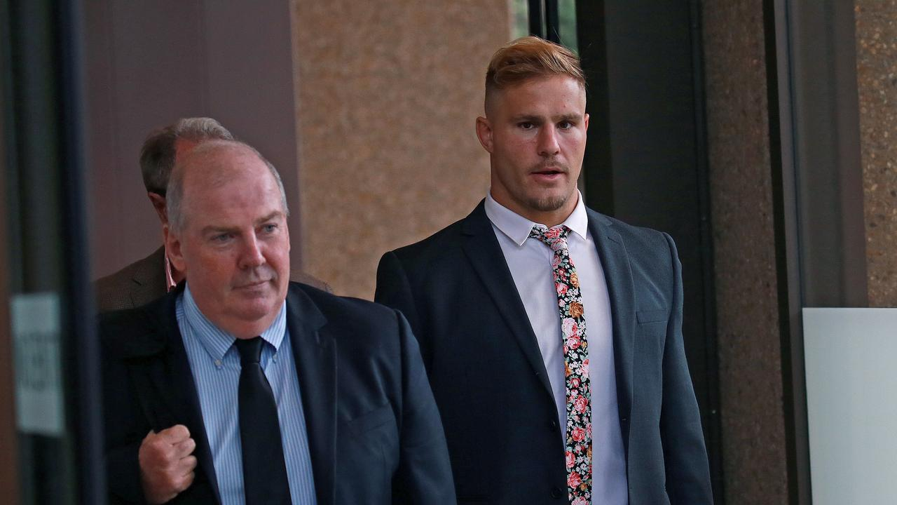 St George Illawarra Dragons player Jack de Belin leaves the Federal Court