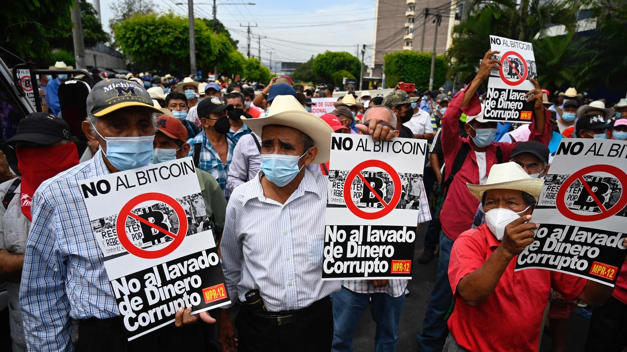 Army veterans march to protest against the implementation of bitcoin in El Salvador. Picture: Marvin Recinos/AFP