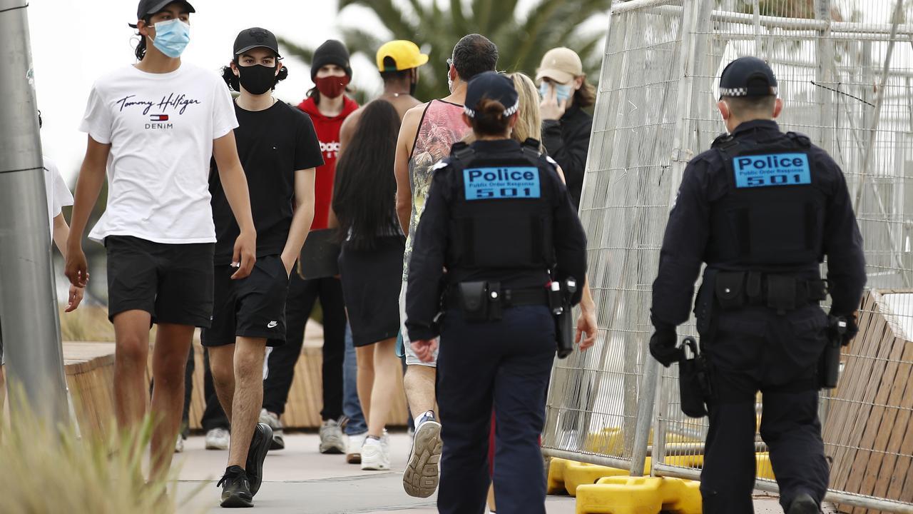 Police patrol around St Kilda in Melbourne on Sunday. Picture: NCA NewsWire / Daniel Pockett