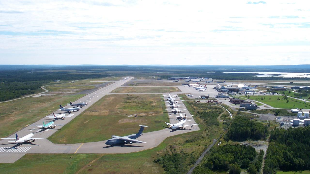 Planes on the tarmac at Gander airport in Newfoundland Canada on September 11, 2001.