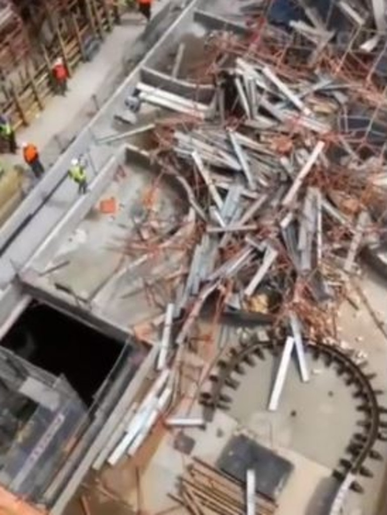 Mobile phone vision from the scene shows the extent of the collapsed scaffolding.