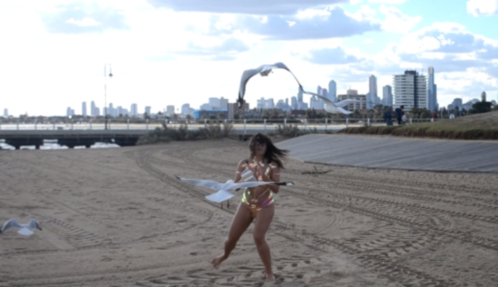 Deni attracted some unwanted attention on St Kilda beach. Picture: Alida Browne/The Sun