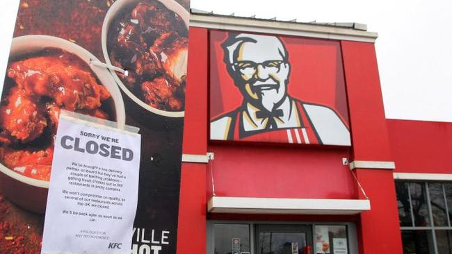 """KFC has now opened 450 restaurants but some are operating limited hours. Picture: Barcroft                         <a capiid=""""22907c91b6ea9a347a64deef00b003ca"""" class=""""capi-video"""">KFC closes most UK outlets over chicken shortage</a>"""