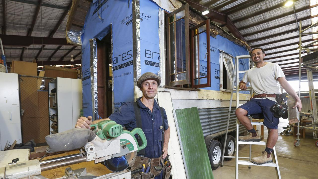 Bower instructors James Galletly and Joe Antonios run workshops on how to build tiny houses. Picture: Justin Lloyd.