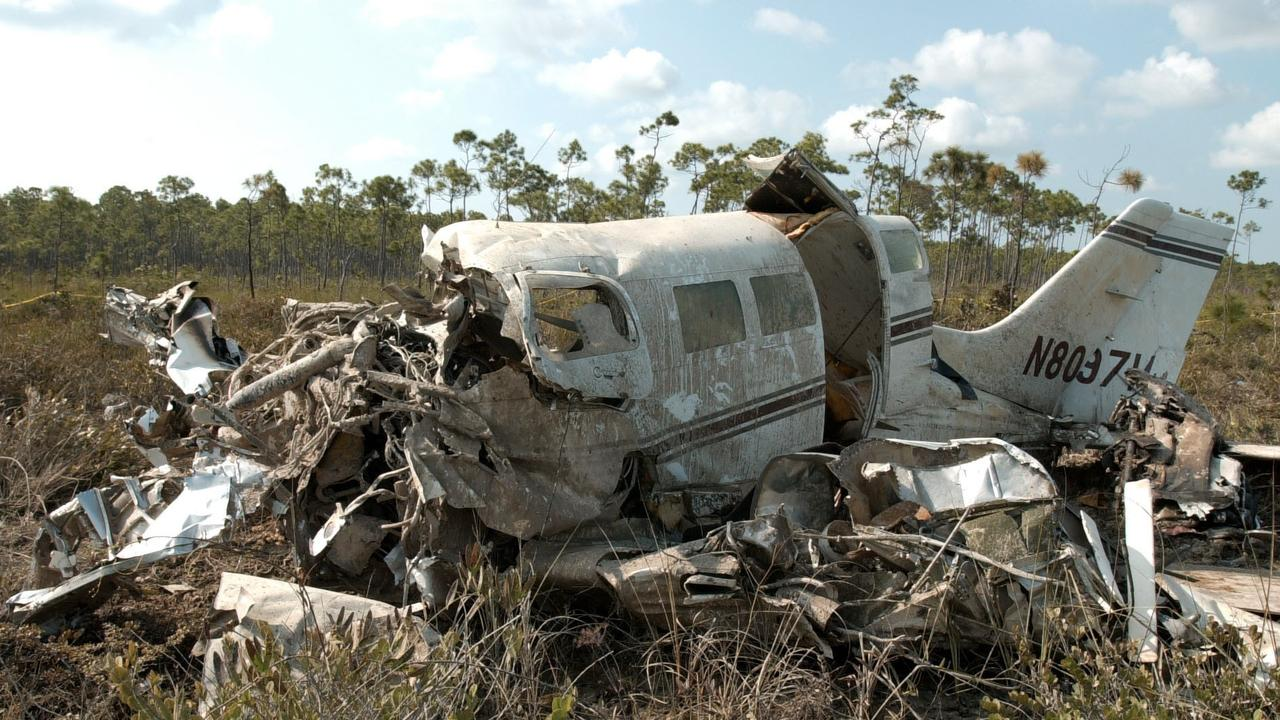 The ruins of the plane in which singer and actress Aaliyah died.
