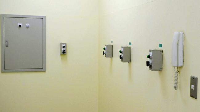 The buttons which release the trap door to the execution chamber. Picture:AFP/JIJI PRESS