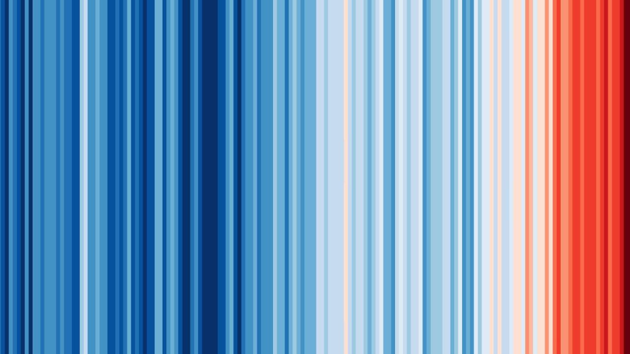 Prof Ed Hawkins warming stripes climate change visualisations of the world's average temperatures from 1850-2017.