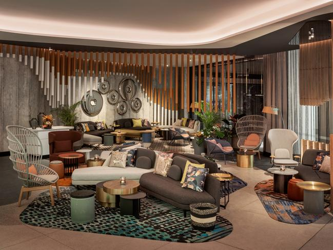 W BRISBANE Brisbane's bold, playful, lifestyle hotel W Brisbane is welcoming back guests. The five-star hotel's accommodation, in-room dining, spa, pool, and gym, all reopen on June 5. The Living Room bar (pictured) will reopen on June 6.