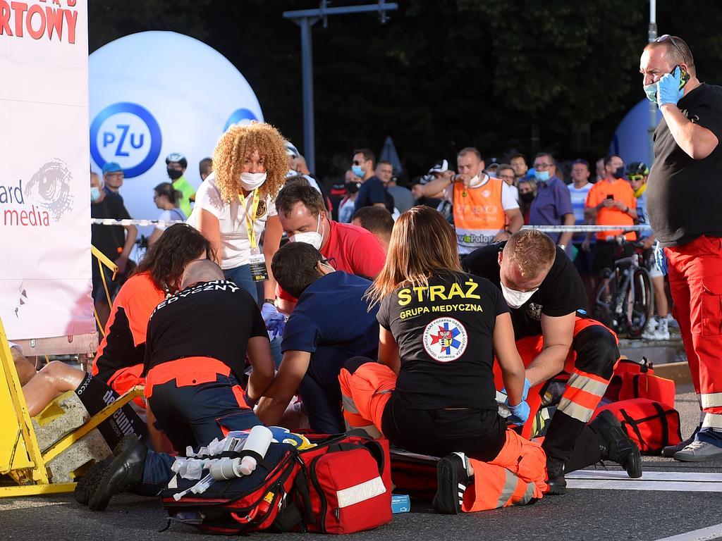 Medics help Fabio Jakobsen after Wednesday's crash.