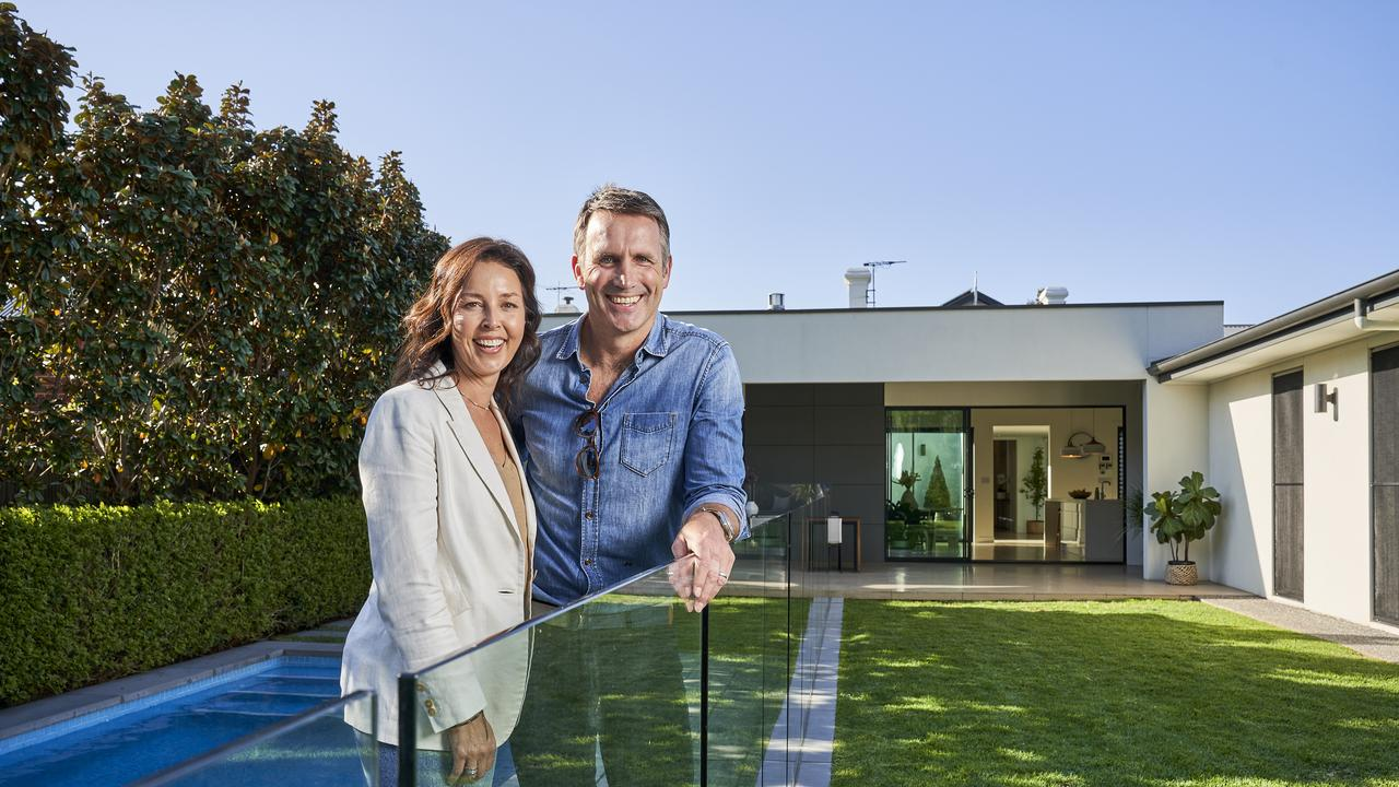 Karmen and Darryl Wakelin outside their stunning home at 55 Hughes St, Unley. Picture: MATT LOXTON