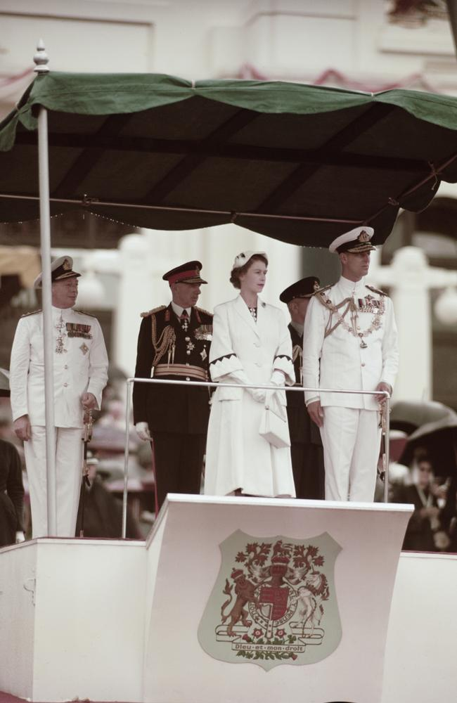 Queen Elizabeth II and Prince Philip in Canberra during their visit to Australia in 1954. Picture: Fox Photos/Hulton Archive/Getty Images