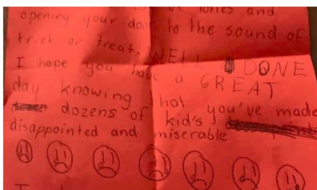 'Entitled' child's angry trick-or-treat note