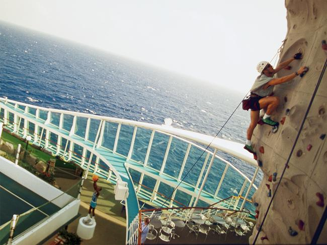 ROCK CLIMBING WALL Strap in and climb forty feet above deck on the Voyager of the Sea's rock climbing wall. No reservations are required for this activity, so climb to the top and enjoy the best view at sea as many times as you'd like.