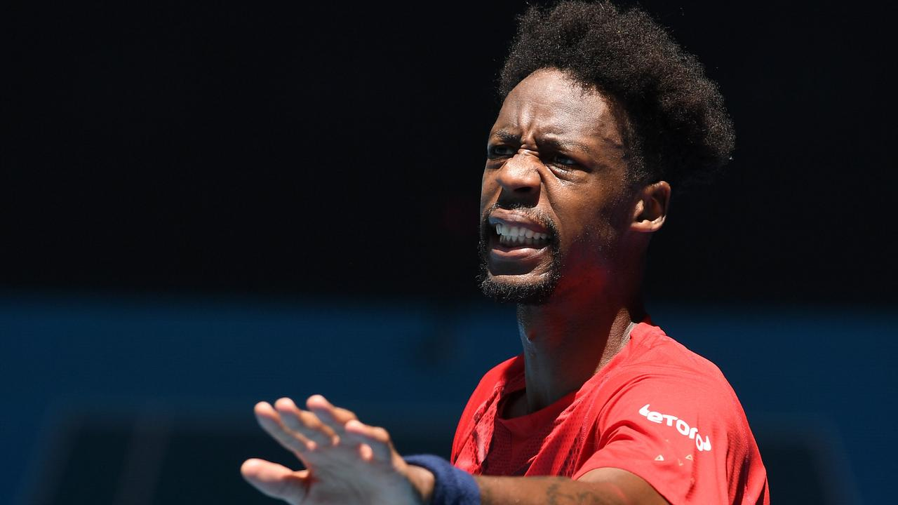 We're not sure how Gael Monfils hurt his hand - or if he even did - at this point. (Photo by Greg Wood / AFP)