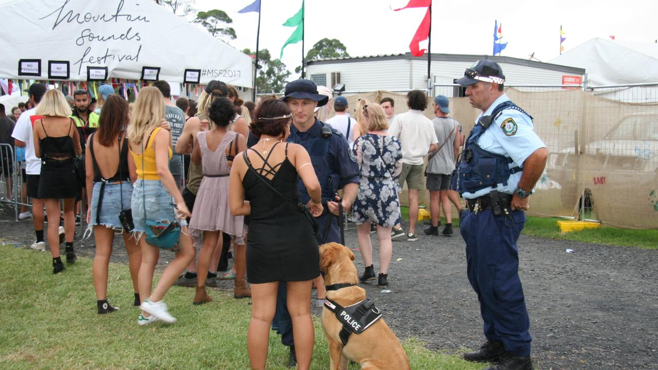 Police speak to revellers at the Mountain Sounds Festival at Kariong. Picture: Lauren Riley