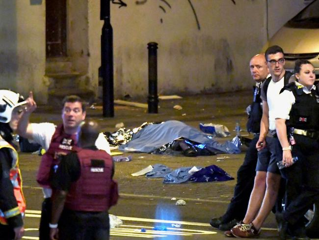 The scene after the attack in London's Finsbury Park. Picture: James Gourley/REX/Shutterstock, Australscope