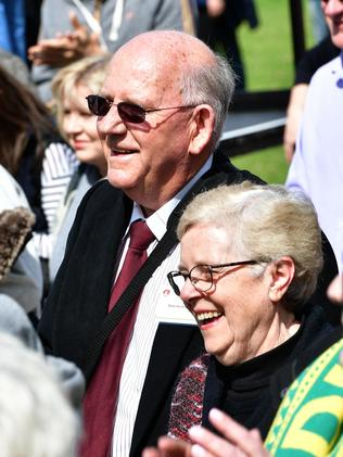 Kyle Chalmers' proud grandparents Malcolm and Julie Bagnall enjoy the moment among the Adelaide crowd. Picture: Keryn Stevens