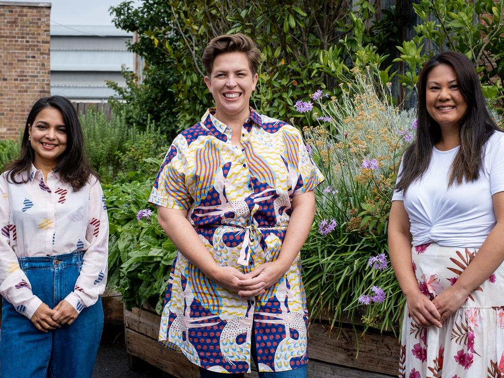 Kishwar, Linda and Jess have all made the huge sacrifice to be away from their families to chase their food dream on MasterChef Australia. Picture: Ten