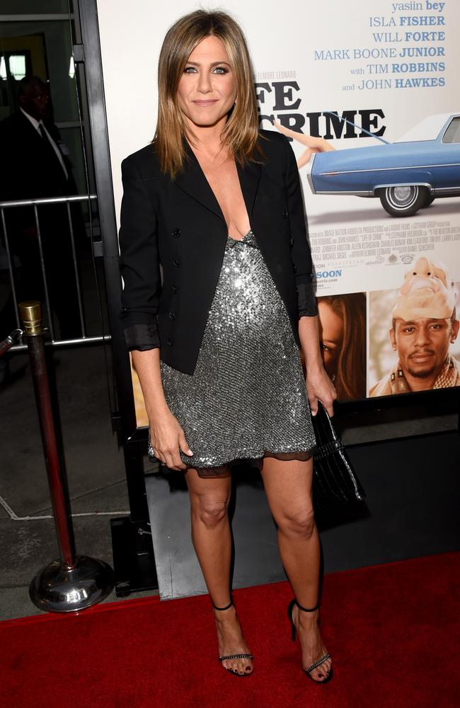 The shadowing on this sequined dress spawned more pregnancy stories. Picture: Jason Merritt/Getty Images