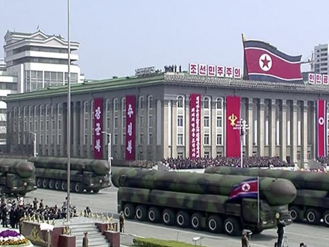 Missiles are displayed during the parade at Kim Il Sung Square in Pyongyang Picture: KRT via AP
