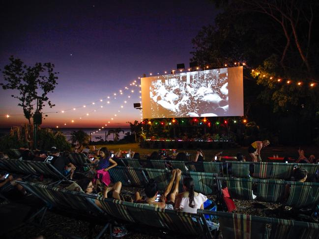 DECKCHAIR CINEMA DARWIN Now that cinemas have reopened, head for the Deckchair Cinema — a Darwin institution that's particularly magical during the dry season. Sit back, relax, watch your movie and admire the golden-hued sky as the sun sets over the ocean. Hot food and drinks are available. Kids under five are free, and there are family tickets.
